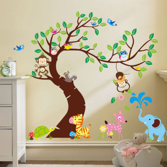 Harga Room Decor Jungle Animals Tree Monkey Owl Removable Wall DecalStickers