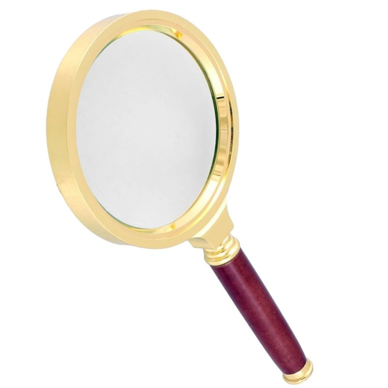 Rosewood Handle Gold Tone Magnifying Glass style:13X