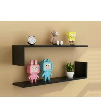 SET OF L SHAPE WALL MOUNTED SHELVES SET (BLACK)