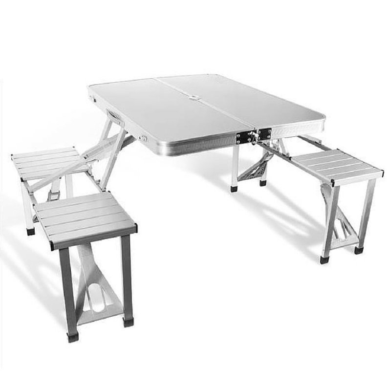Shoppy Easy Fold Carry Portable Picnic Table with 4 Seat (Chrome)