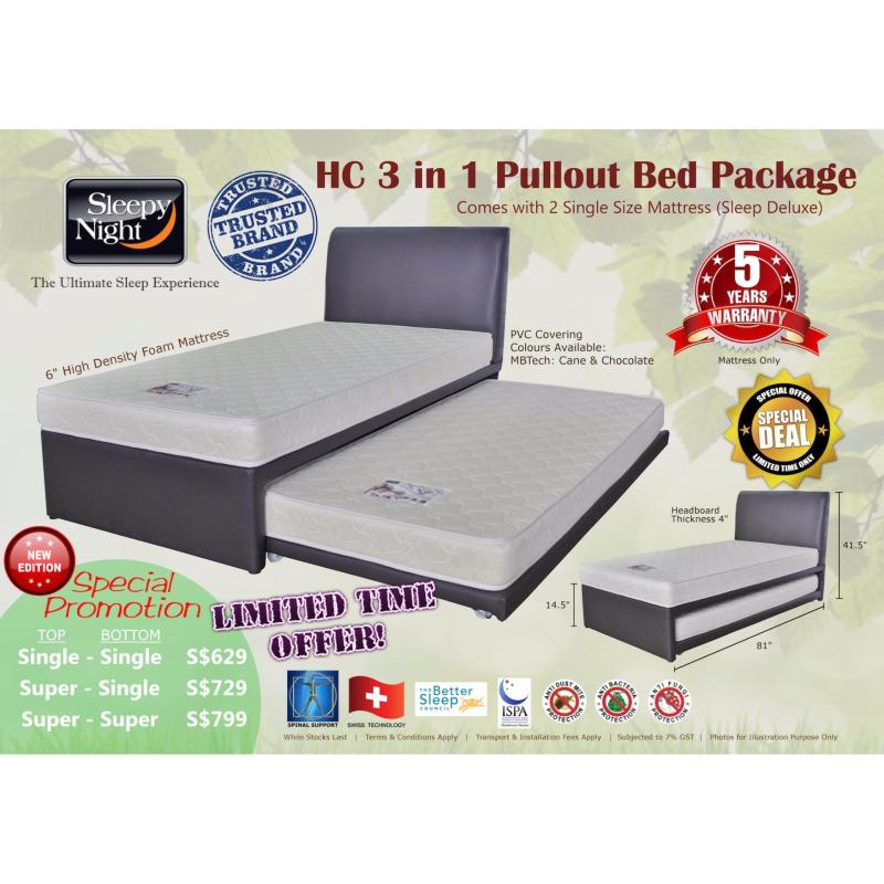 Sleepy Night 3 in 1 Pullout Bed Package - Super Single Top/Super Single Bottom, Sleep Deluxe 6 (Cane)