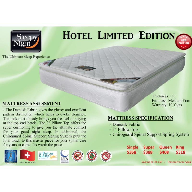 Sleepy Night Hotel Limited Edition Mattress with Pillow Top Super Single (White)
