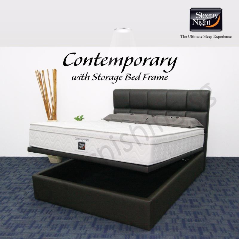 Sleepy Night (King) Contemporary Mattress with Jean Storage Bedframe