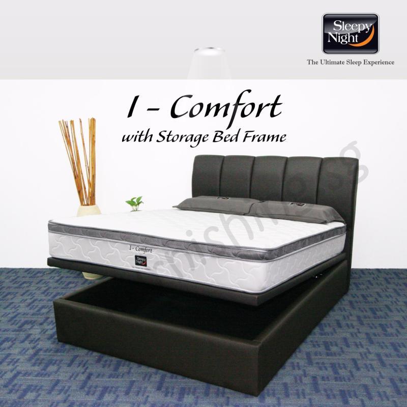 Sleepy Night (King) I Comfort Mattress with Jacinta Storage Bedframe