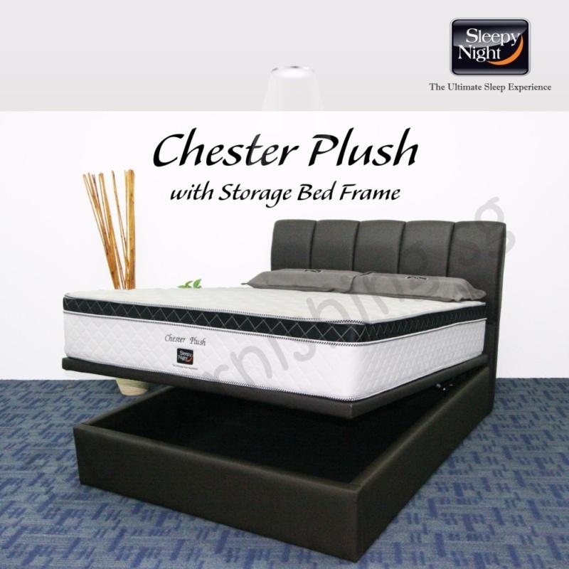 Sleepy Night (Queen) Chester Plush Mattress with Jacinta Storage Bedframe