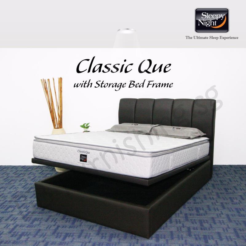 Sleepy Night (Queen) Classic Que Mattress with Jacinta Storage Bedframe