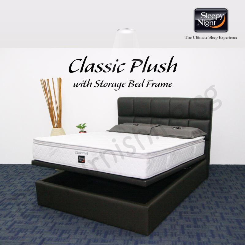 Sleepy Night (Single) Classic Plush Mattress with Jean Storage Bedframe