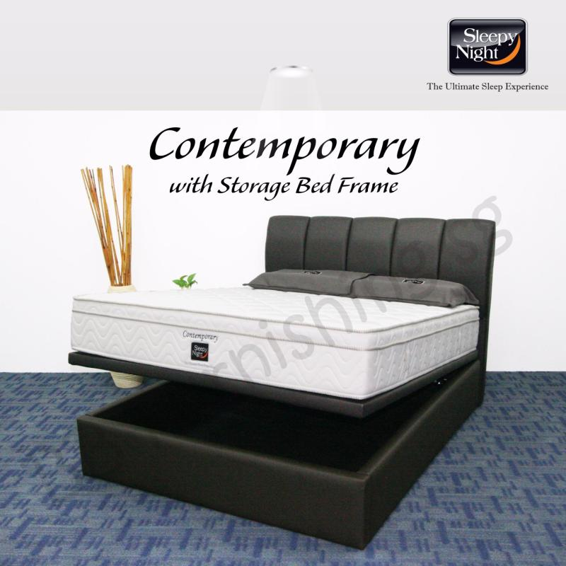 Sleepy Night (Single) Contemporary Mattress with Jacinta Storage Bedframe