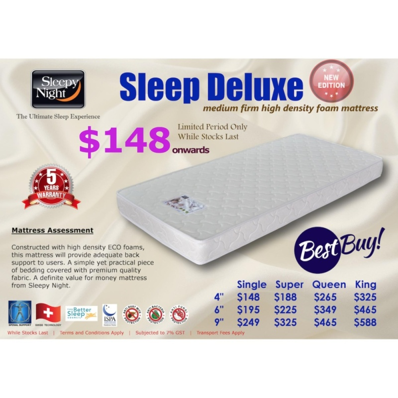 Sleepy Night Sleep Deluxe High Density Foam Mattress, Single 6 (FREE DELIVERY)