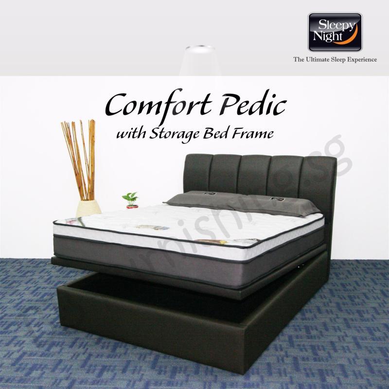 Sleepy Night (Super Single) Comfort Pedic Mattress with Jacinta Storage Bedframe