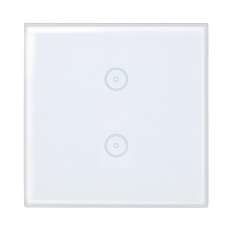 Smart Home Wall Light White Switch Touch Control Glass Panel EU Plug 2 Gang - intl