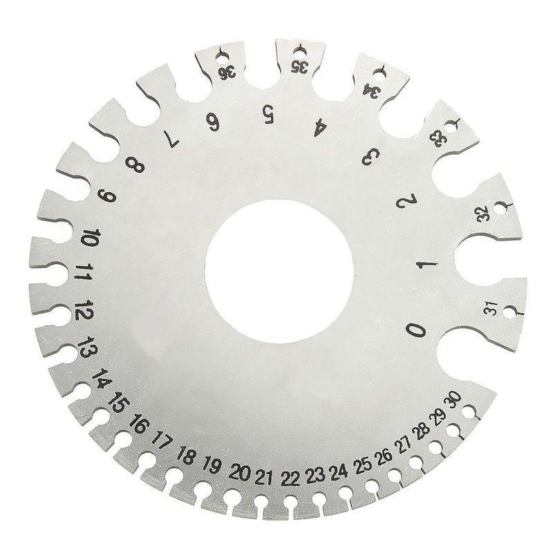 Stainless Steel Round AWG SWG Wire Thickness Ruler Gauge Diameter Tool - intl