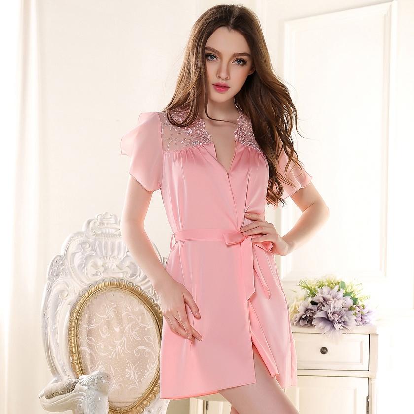 Summer short-sleeved nightgown silk female sexy silk lace sexy short nightgown thin section pajamas bathrobe Home Service