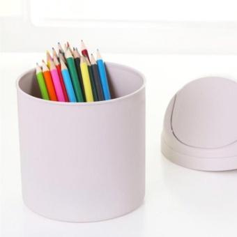 Sunshop Table Mini Small Waste Bin Desktop Garbage Basket HomeOffice Roll Swing Lid Trash Can - intl - 2
