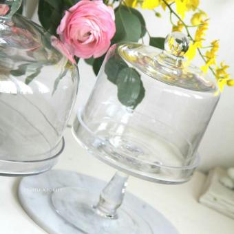 TALL GLASS CAKE STAND WITH DOME