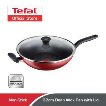 Tefal 32cm Pure Chef Deep Wok Pan with Lid C61796