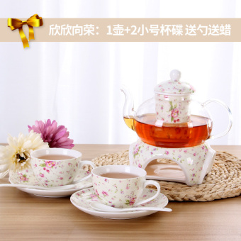 Those time flower teapot cook fruit teapot set ceramic glass afternoon tea flower nectar TEA Tea candle Heating