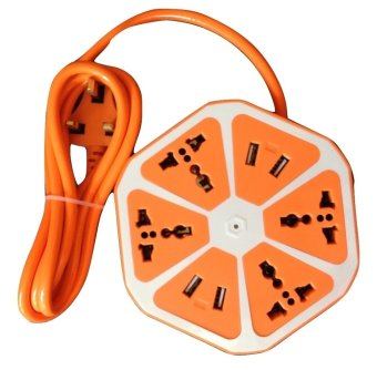 Travel Extension Cord with 4 Universal Sockets and 4 USB Ports(Orange) (EXPORT)