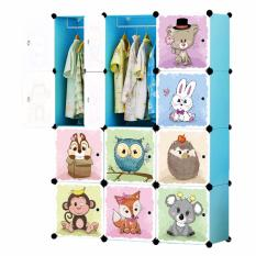 Tupper Cabinet 12 Cubes Jungle Cartoon DIY Wardrobe Organizer - Sky Blue
