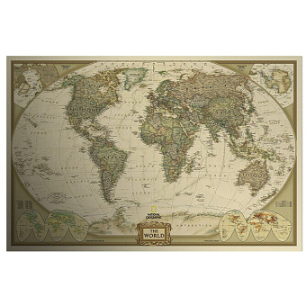 For Sale Vintage Style Retro Cloth Poster Globe Old World Nautical - World map poster vintage style