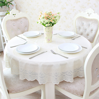 White lace PVC plastic small round tablecloth table cloth