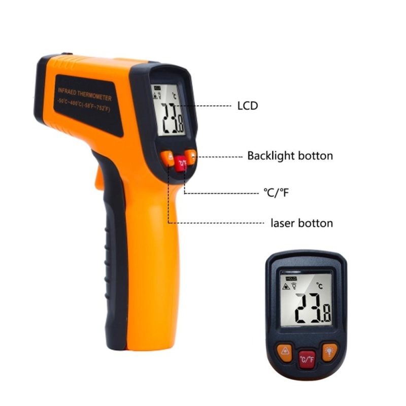 yieryi Handheld -50-400 Degree Thermometer Digital IR Laser Infrared Temperature Meter Non-contact LCD Gun Style IR Thermometer - intl