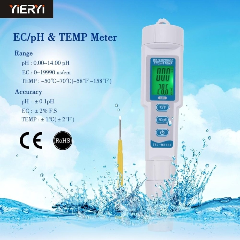 yieryi New PH-983 3 in 1 Multi-parameter PH Monitor Water Quality Tester Pen Type pH EC TEMP Acidometer Drink Water Quality Analyser - intl