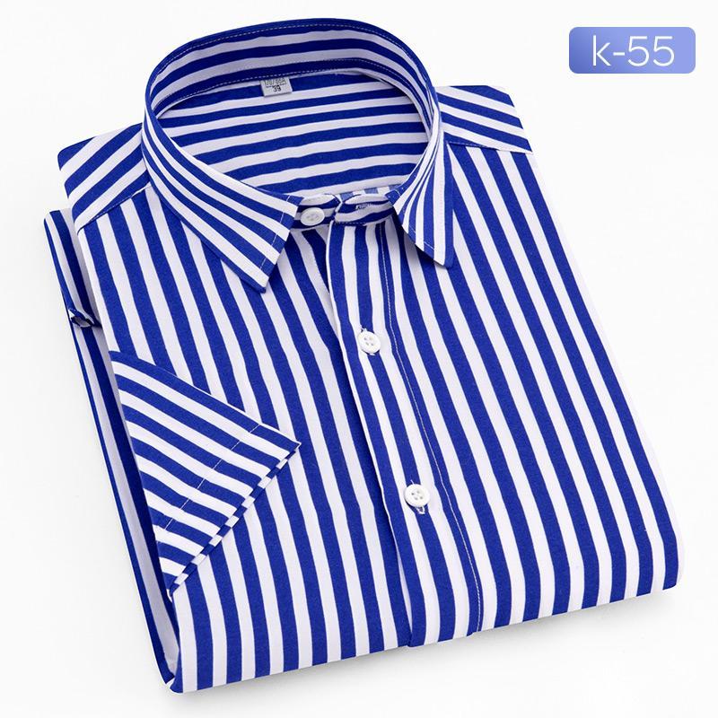 Musim panas Pria lengan pendek kemeja casual motif garis Gaya Korea Tren Warna Polos kemeja putih