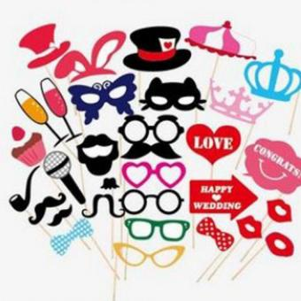 31Pcs Photo Booth Props Party Wedding with Champagne Microphone