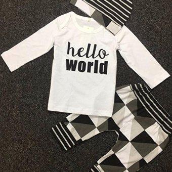 3pcs Baby Boy Hello World Color Block Shirt Pants Hat Clothes Set -intl - 4