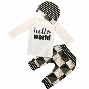 3pcs Baby Boy Hello World Color Block Shirt Pants Hat Clothes Set -intl - 3