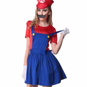 3PCS/Set Louis Mario Super Marie Clothes Cosplay Costume -Red(SizeL)