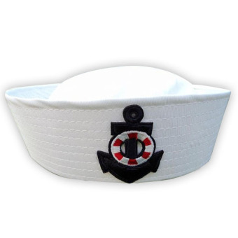 Adult Child White Sailor Navy Hat Cap with Anchor for Fancy Dress