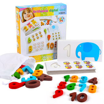 Baby children's early learning wooden hand grasping board package with numbers puzzle