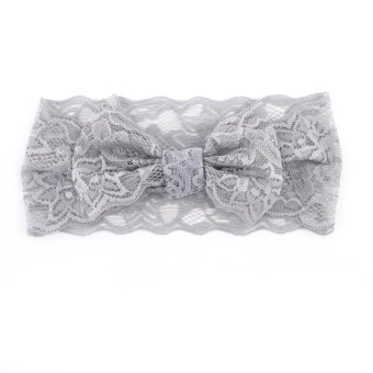 Baby Girl Bowknot Lace Headband Headwear Accessories(Grey)