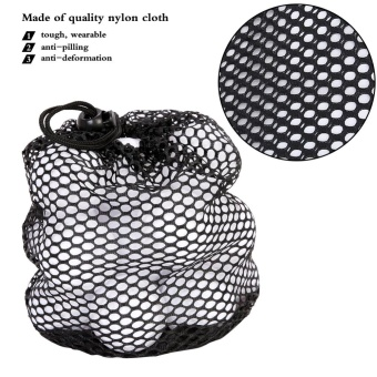 Harga Black Nylon Mesh Drawstring Pouch Golf Balls Holder Storage Bag (M)- intl