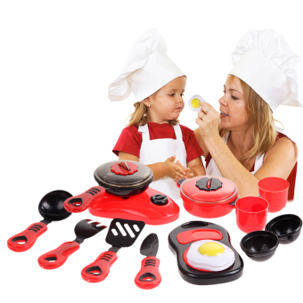 Children DIY Beauty Kitchen Cooking Toy Role Play Toy Set Red