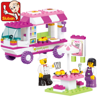 DIY plastic fight inserted girl's children's fast food car small Luban building blocks