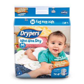 Drypers Wee Wee Dry M 74s x 3 packs (6 - 11kg) 222pcs/box
