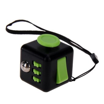 Fidget Cube with Strap for Stress Anxiety Relief Toys Fidget Toy (Black + Green)