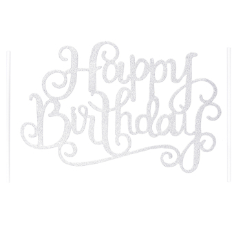 Gold Silver Cake Topper Happy Birthday Party Supplies DecorationsSilver - intl