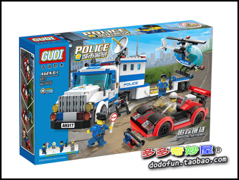 Gudi goody building blocks 9317 track gangster City Police heavytruck helicopter machine fight inserted boy toy gift