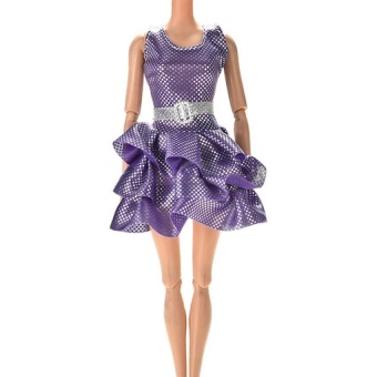 Harga Handmake Mini Vest Dress for Barbie doll with Belt 4 Colors Purple - intl