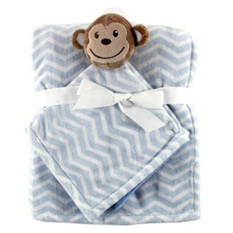 Harga Hudson Baby Plush Security Blanket and Blanket Blue Monkey