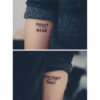 Harga iBelieve Waterproof English Words Temporary Tattoo Sticker - intl