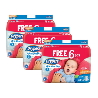 Harga Drypers Wee Wee Dry S 82s x 3 packs (3 - 7kg) 246pcs/box With Free 6 Pieces In Pack !