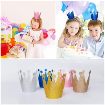 Harga 6pcs/lot Adult Child Crown Cap Party Supplies Birthday Party Baby Shower Hat Prince and Princess Shiny Plastic - intl