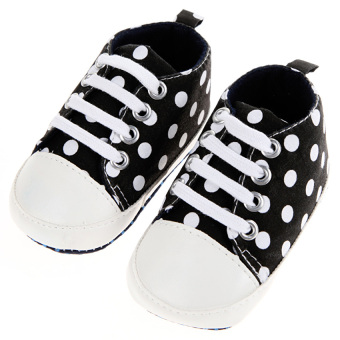 Harga GDS Baby Girls Boy Soft Bottom Dot Shoes (Black) - intl