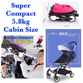Harga Super Compact Topbi Bibi Love ( Similar to Yoyo Yoya Kiddopotamus Design & Feature) Cabin Size Stroller Pram 5.8kg - Light Blue