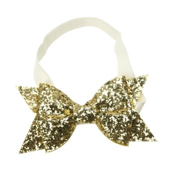 Baby Girls Glitter Sequins Bowknot Hairband Stretchable Headband - intl